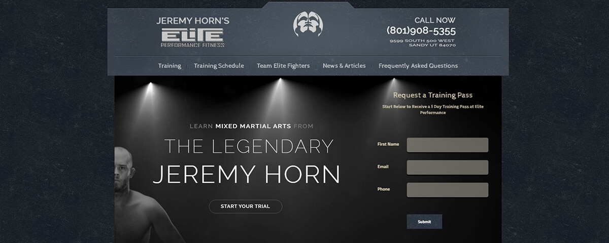 Jeremy Horn's Elite Performance MMA Homepage Website