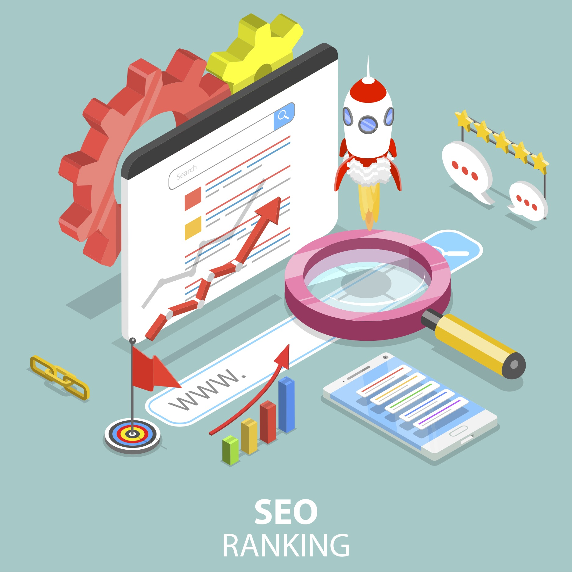 SEO graphic with several graphs